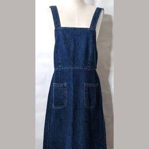 Vintage GAP Denim Overall Dress Sz 12 Long Maxi